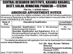 CRI Kasauli Notification 2019 indgovtjobs