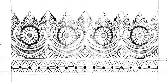 Cutwork border design of saree/banarasi saree border design/saree border design drawing