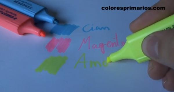 Colores Primarios Los colores del modelo CMY explicados con marcadores fluorescentes Staedtler.