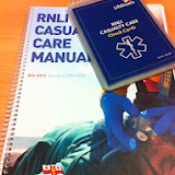 RNLI Casualty Care Manual and Check Cards for the crew at the start of their Casualty Care course - July 2014 Photo: Dave Riley