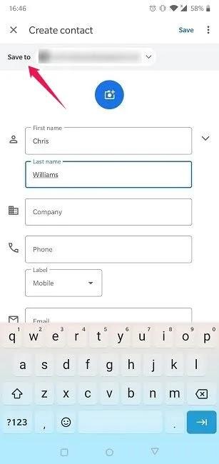 استيراد تصدير جهات الاتصال على Android حفظ إلى