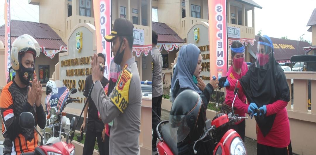 Songsong New Normal Kapolres Soppeng Bersama Bhayangkari Bagi - Bagi Masker Gratis