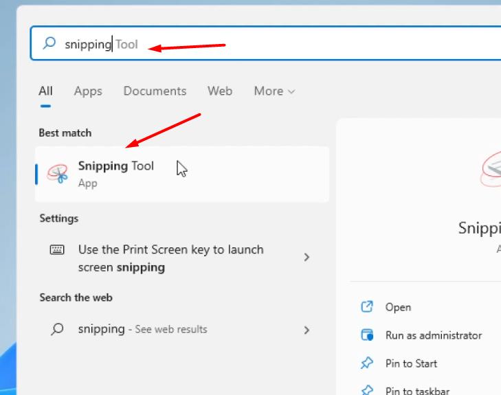 Snipping tool to take screenshot windows 11