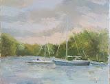 port jachtowy, olej, płótno, 24x30 cm