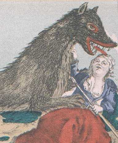 An 18th-century print showing a woman defending herself from the Beast of Gévaudan.