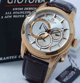 jam tangan Giotona GT7330 brown leather rosegold white