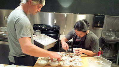 Teamwork plating oysters by Mark Wooten and Colin Yoshimoto