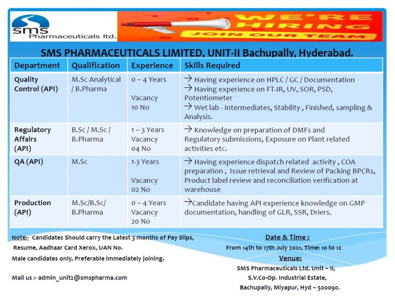 Walk-In For Production, QA, QC, Regulatory Affairs In API At SMS Pharmaceutical