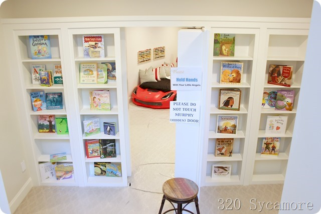 hidden murphy door bookcase to playroom