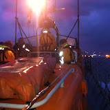 23 September 2012 - Poole lifeboat crew returning from an early morning shout at 0545 to a yacht without engine or battery power, which was struggling in worsening conditions to get to its mooring after a trip across from Cherbourg overnight. Photo: RNLI/Dave Riley