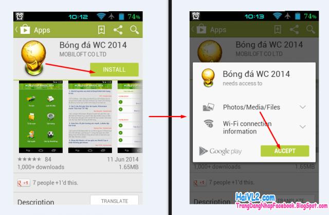 cài đặt ứng dụng theo dõi world cup 2014 trên điện thoại samsung, htc android