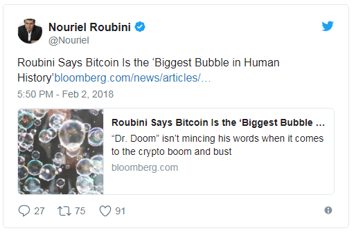 Bitcoin is biggest bubble in human history - Nouriel Roubini tweet
