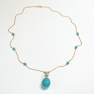 14K Gold, Diamond, and Blue Bead Necklace