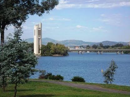 Lake Burley Griffin looking East past the bike track and Carillion