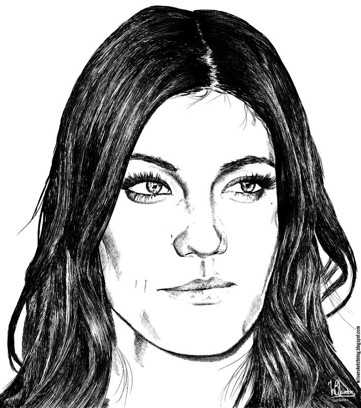 Ink drawing of Jennifer Carpenter, using Krita 2.5.