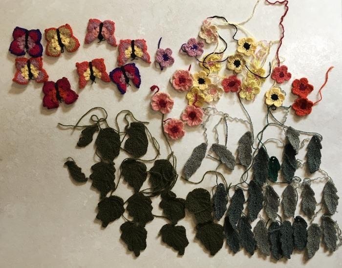 10 Crochet Embellishments Pressed