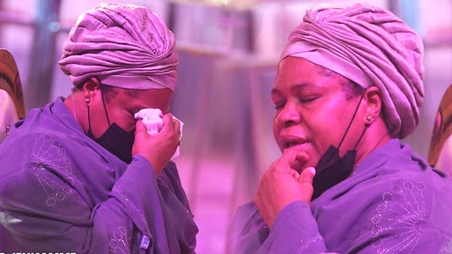 TB Joshua's wife cries at his funeral.