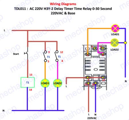 เครื่องภน่วงเวลา ตั้งเวลาแบบอนาล็อก พร้อมฐาน ac 220v h3y 2 delay รับประกันสินค้า 1เดือน