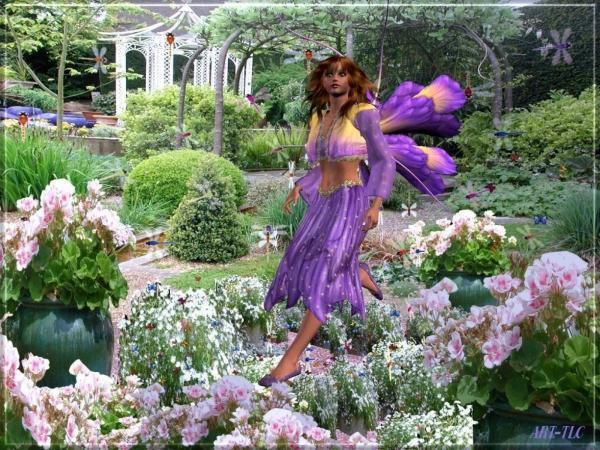 Purple Fairy In The Garden, Fairies Girls 2
