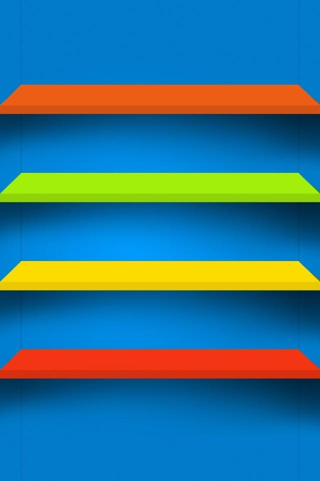 Colorful Shelve on Blue Wallpapers For iPhone 4