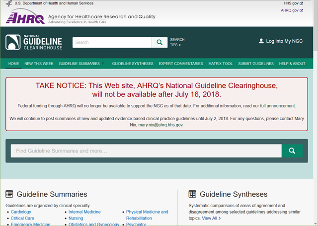 Screenshot of the National Guideline Clearinghouse site before it was deleted by Trump's antiscience forces on 16 July 2018. Graphic: HHS