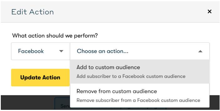 Screenshot of a dropdown menu for Facebook actions in Drip