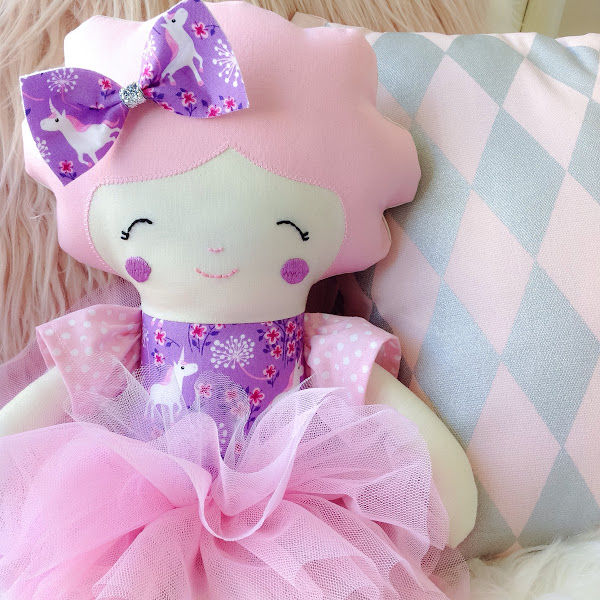 Purple Unicorn Doll by Rhapsody and Thread