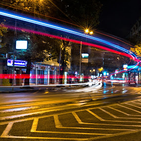 The city never sleeps by Marko Gilevski - City,  Street & Park  Street Scenes ( urban, strert, lighttrails, cityscape, nightscape )