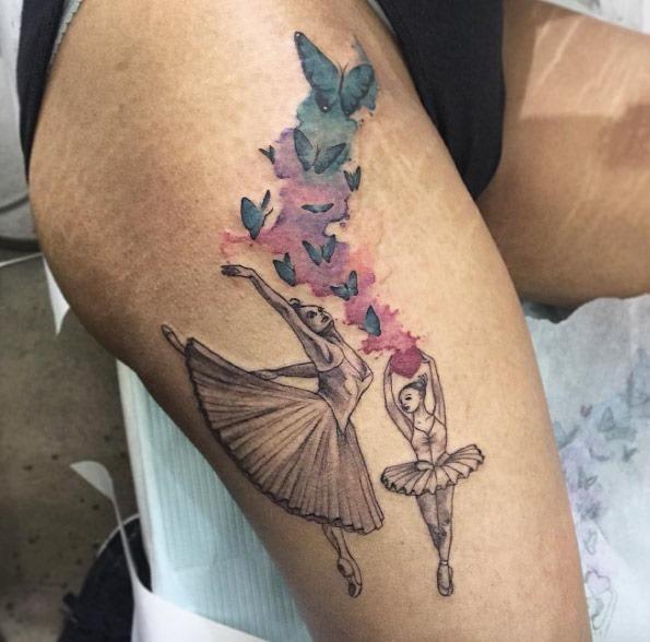 Estes blackwork bailarinas com aquarela borboletas