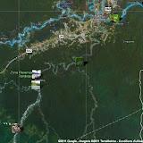 Localisation des photos le long de la Tambopata : l'Explorer's Inn est au centre et le Tambopata Research Center est au sud-ouest (dans le bas de la photo).