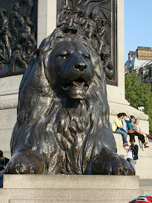 Cool lion at the base of the Nelson Column in Trafalgar Square