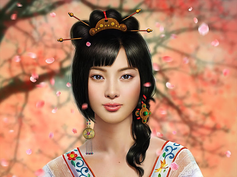 Japan Rose Fantasy Girl, Magic Samurai Beauties