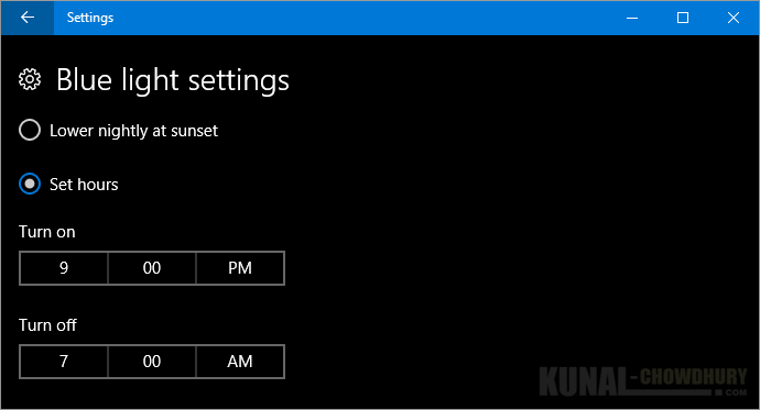 Schedule time to turn ON or OFF the blue light on Windows 10 Creators Update (www.kunal-chowdhury.com)