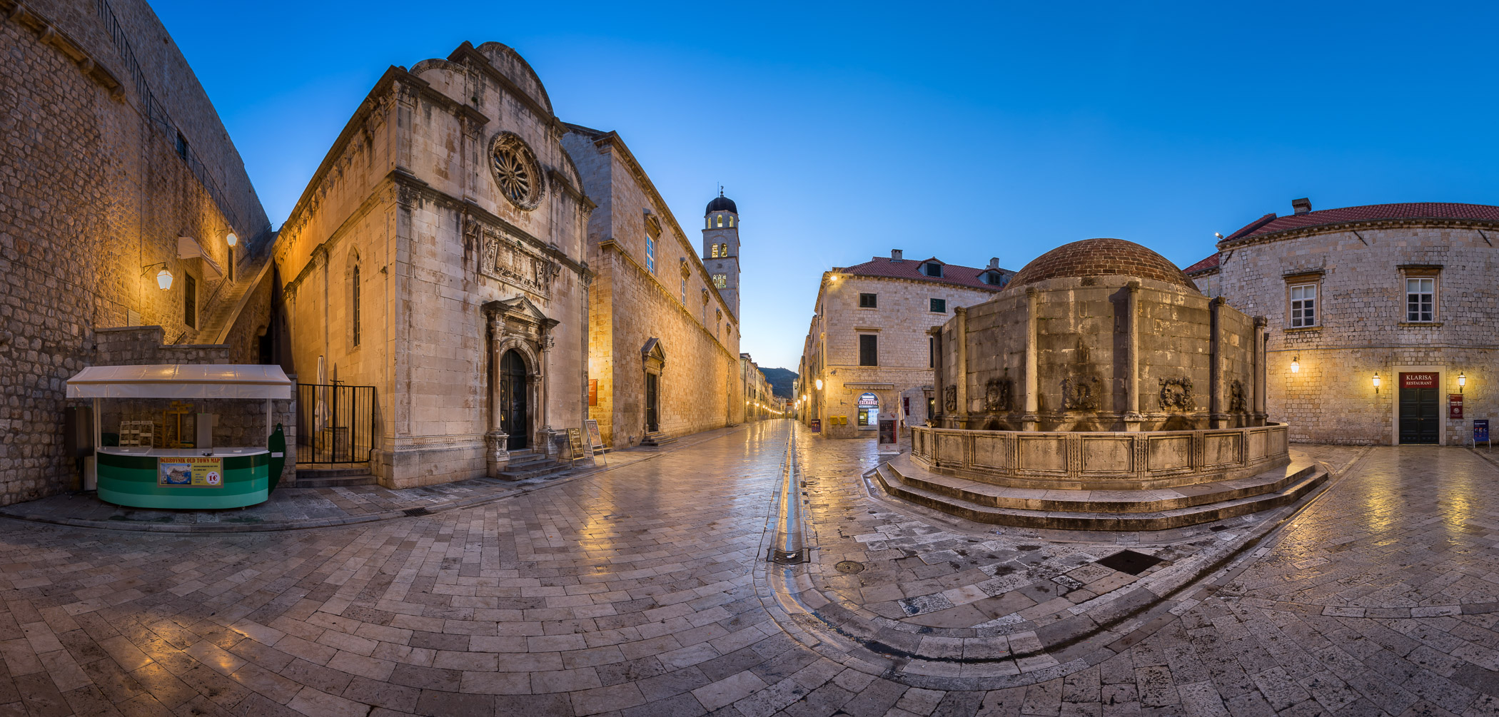 Panorama of Great Onofrio Fountain and Holy Saviour Church in the Evening, Dubrovnik