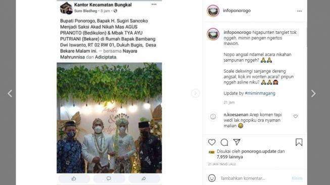 Viral Bupati Ponorogo Hadir dan Jadi Saksi Akad Pernikahan di Massa PPKM, Warganet Gaduh..