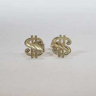 14K Gold Dollar Sign Earrings