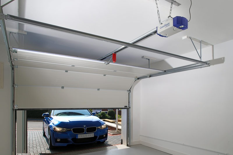 Garador sectional garage door inside garage