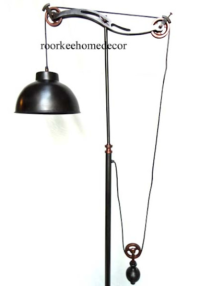 Beautiful Brass Orate Decorative Awesome PULLEY FLOOR LAMP