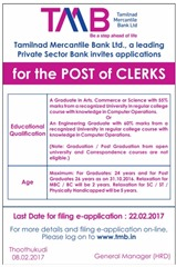 TMB Clerks 2017 Advertisement