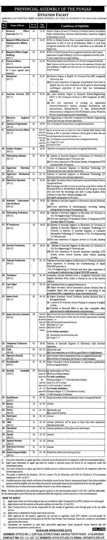 New Jobs in Provincial Assembly of Punjab OTS Jobs 2021 Age (18-50)  OTS Jobs in Punjab Assembly Pakistan - Apply online by www.newjobs.pk