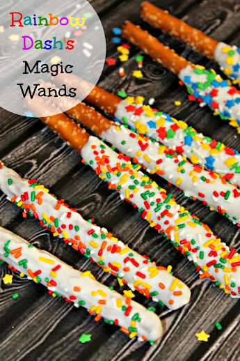 "My Little Pony Recipes: Rainbow Dash's ""Magic Wands"" Chocolate-Dipped Pretzel Rods"