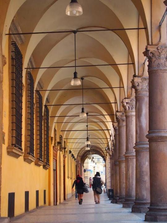 Pórticos en la ciudad de Bolonia