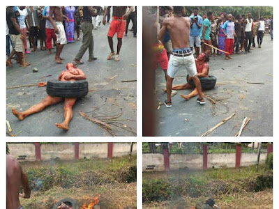 TEARS! Watch The Moment A Lady Was Burnt To Death For R@ping And Robbing A Man (PHOTOS)