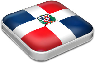 Flag of Dominican Republic with metallic square frame
