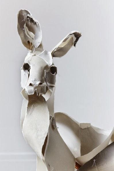 Detalle,canguro,escultura,papel