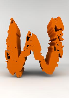 lettre 3D chiffron de craie orange - W - images libres de droit