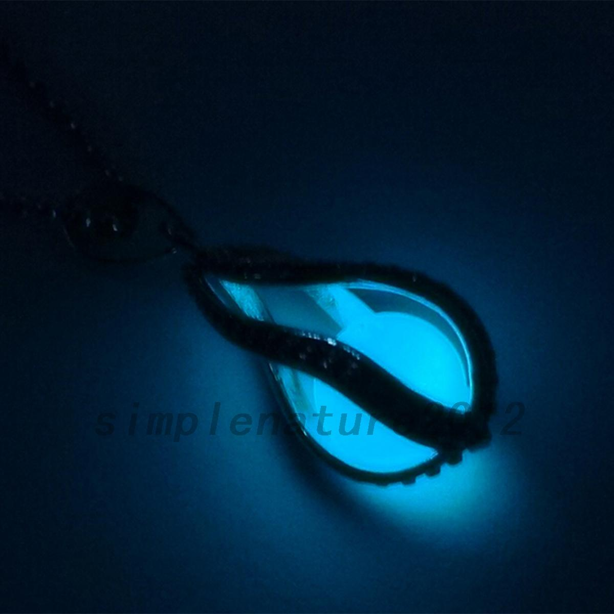 Water-Drop-Locket-Glow-In-The-Dark-Pendant-Necklaces-Luminous-Fashion-Jewelry