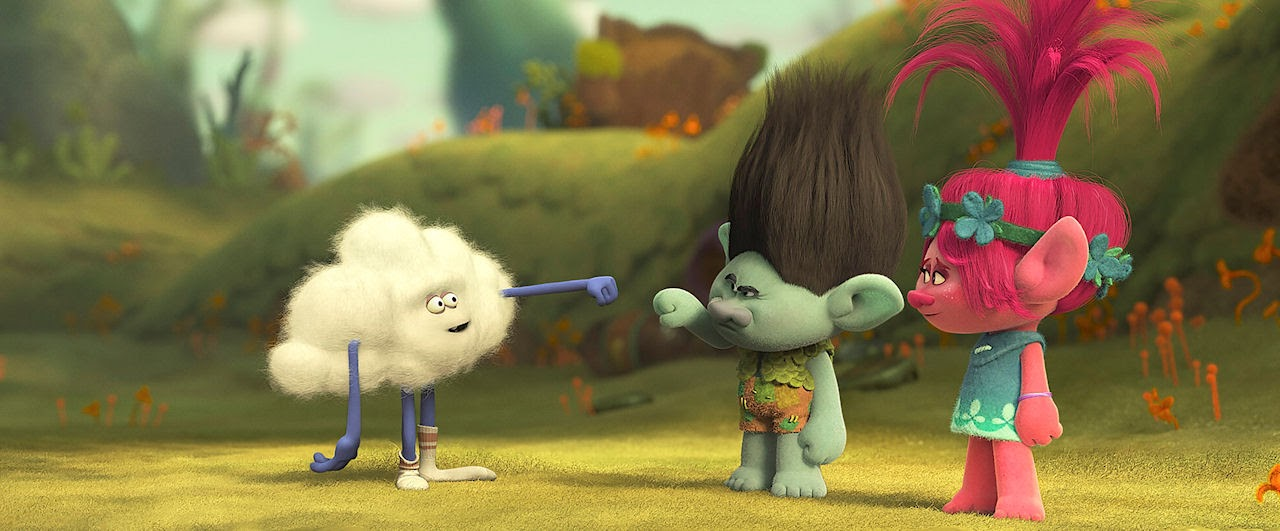 Cloud Guy (voiced by Walt Dohrn), Branch (voiced by Justin Timberlake) and Poppy (voiced by Anna Kendrick) in TROLLS. (Photo courtesy of DreamWorks Animation).