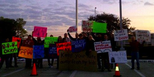 Protestors outside of HISD Board Meeting