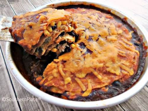 "Chicken Enchilada Pie ""I made this meal for dinner this evening and..."